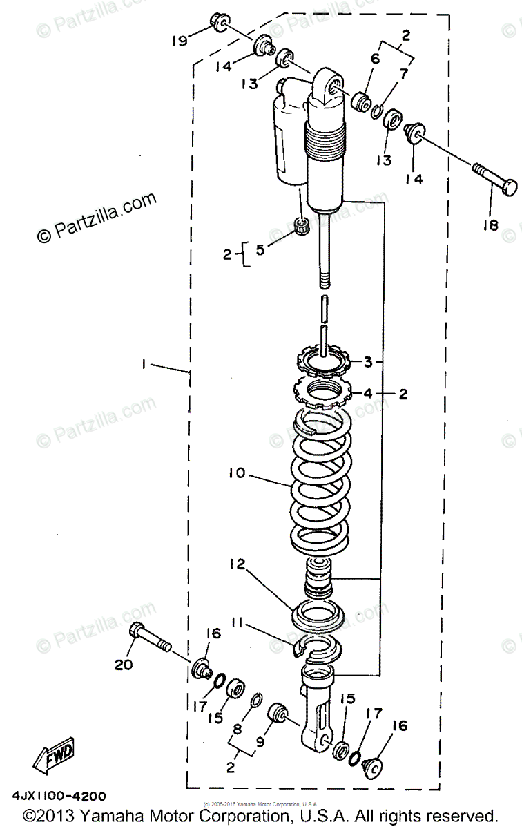 Yamaha Motorcycle 1994 OEM Parts Diagram for Rear