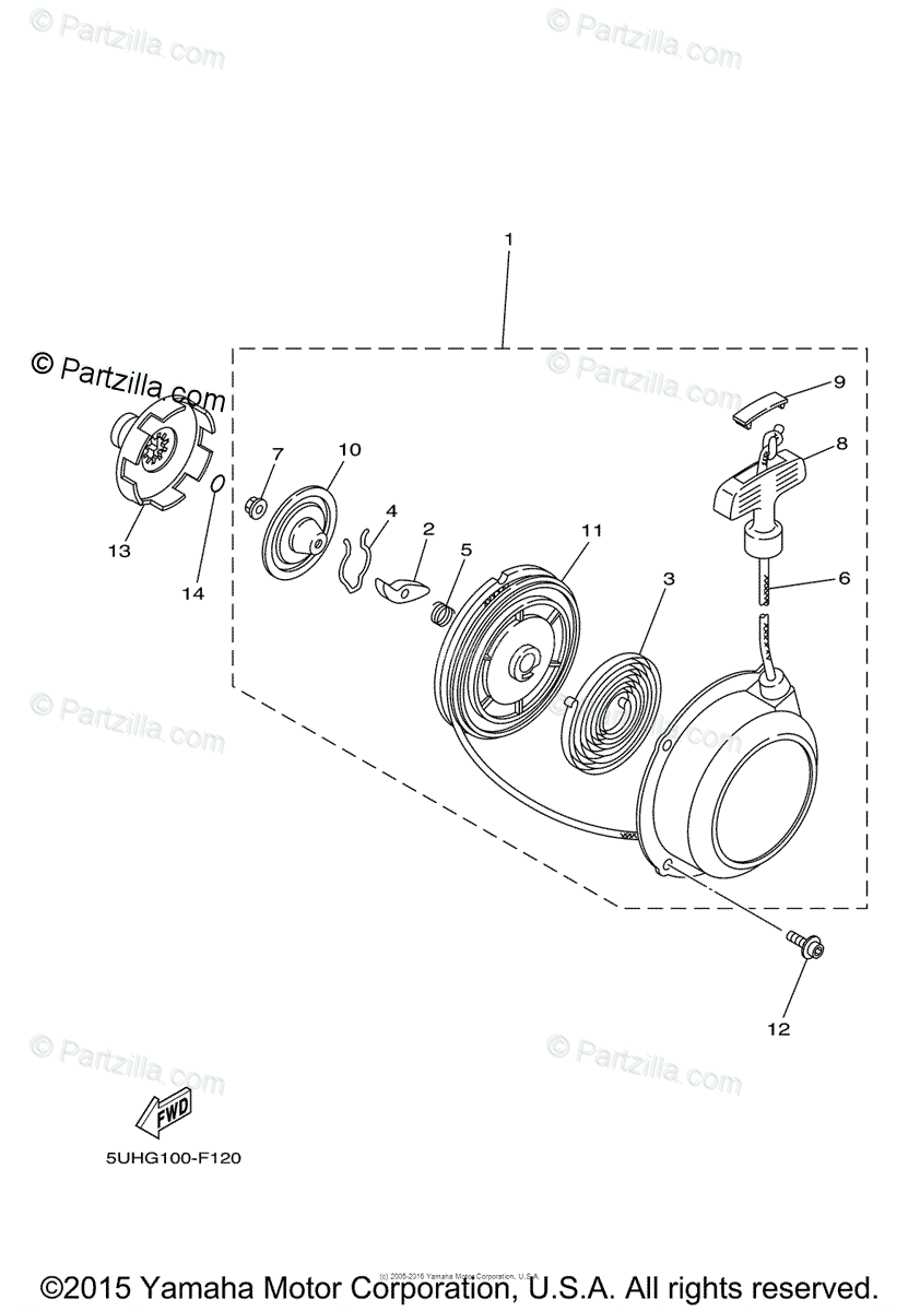 Yamaha ATV 2014 OEM Parts Diagram for Alternate for Engine