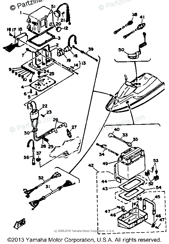 Yamaha Waverunner 1988 OEM Parts Diagram for Electrical