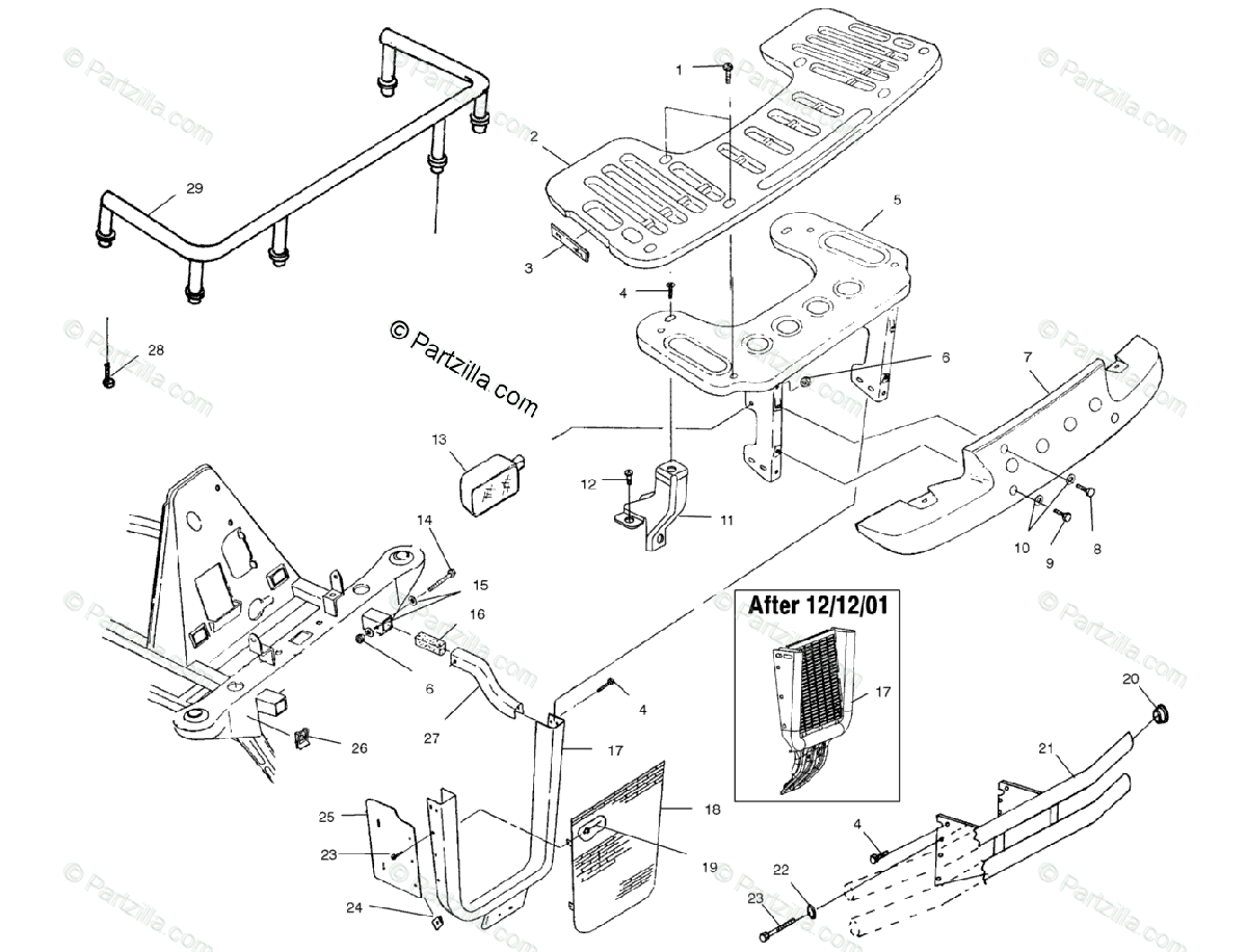 Polaris ATV 2002 OEM Parts Diagram for Front Rack & Bumper