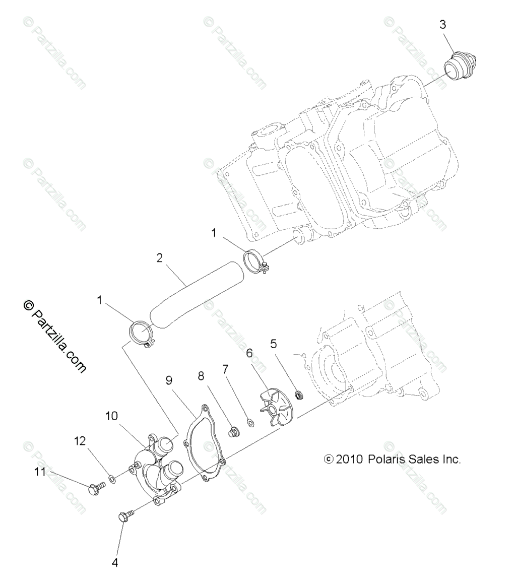 Polaris ATV 2011 OEM Parts Diagram for Engine, Water Pump