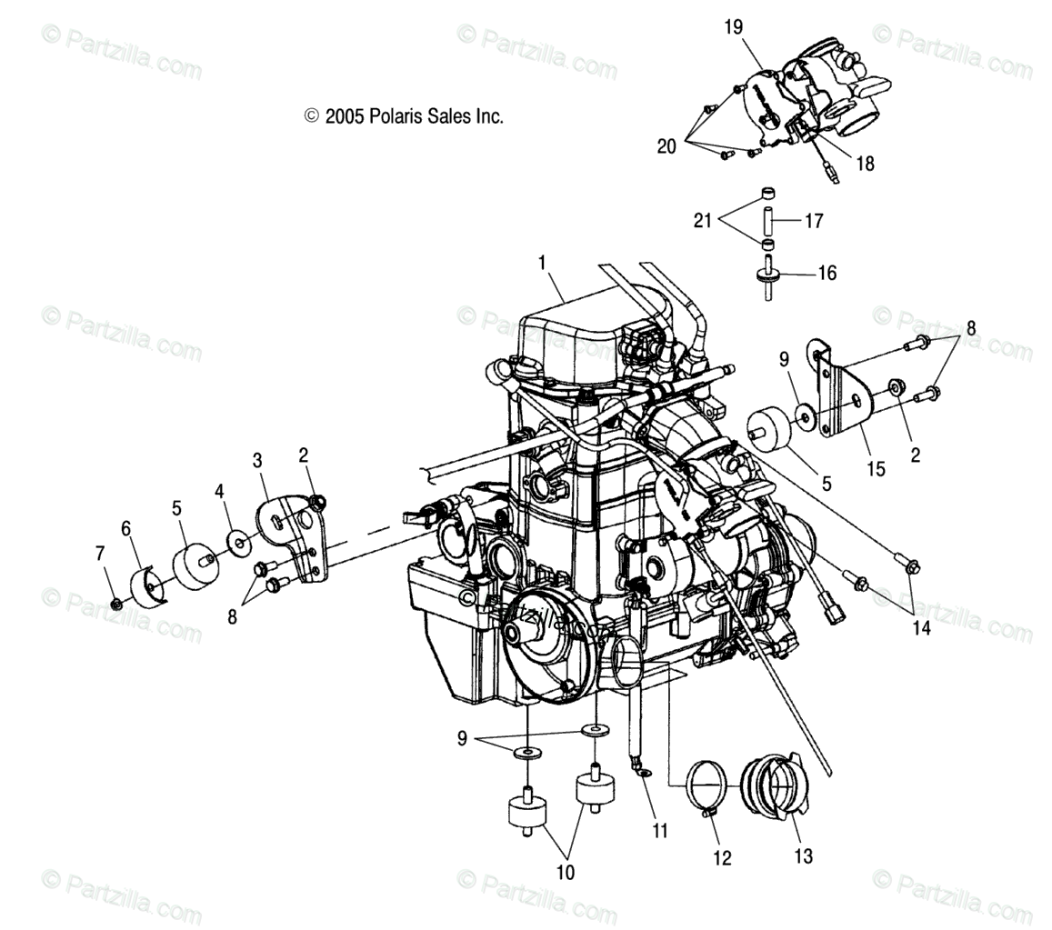Polaris ATV 2006 OEM Parts Diagram for Engine Mounting /Aq