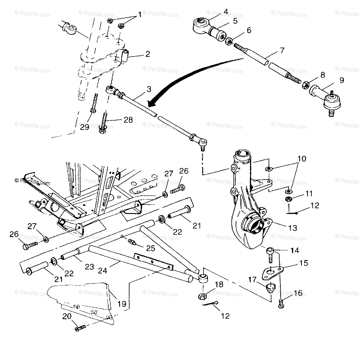 Polaris ATV 1998 OEM Parts Diagram for Aarm/Strut Mounting