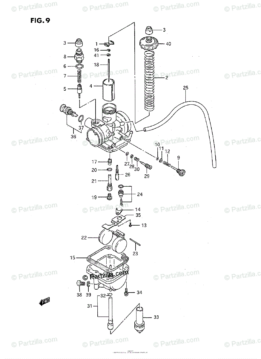 Suzuki ATV 1988 OEM Parts Diagram for CARBURETOR (MODEL J