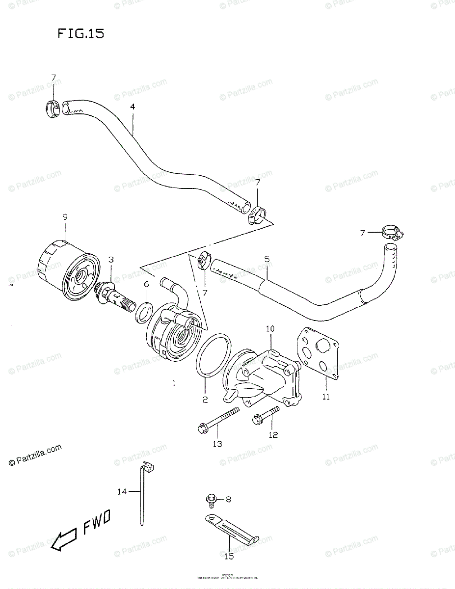 Suzuki Motorcycle 1999 OEM Parts Diagram for Oil Cooler