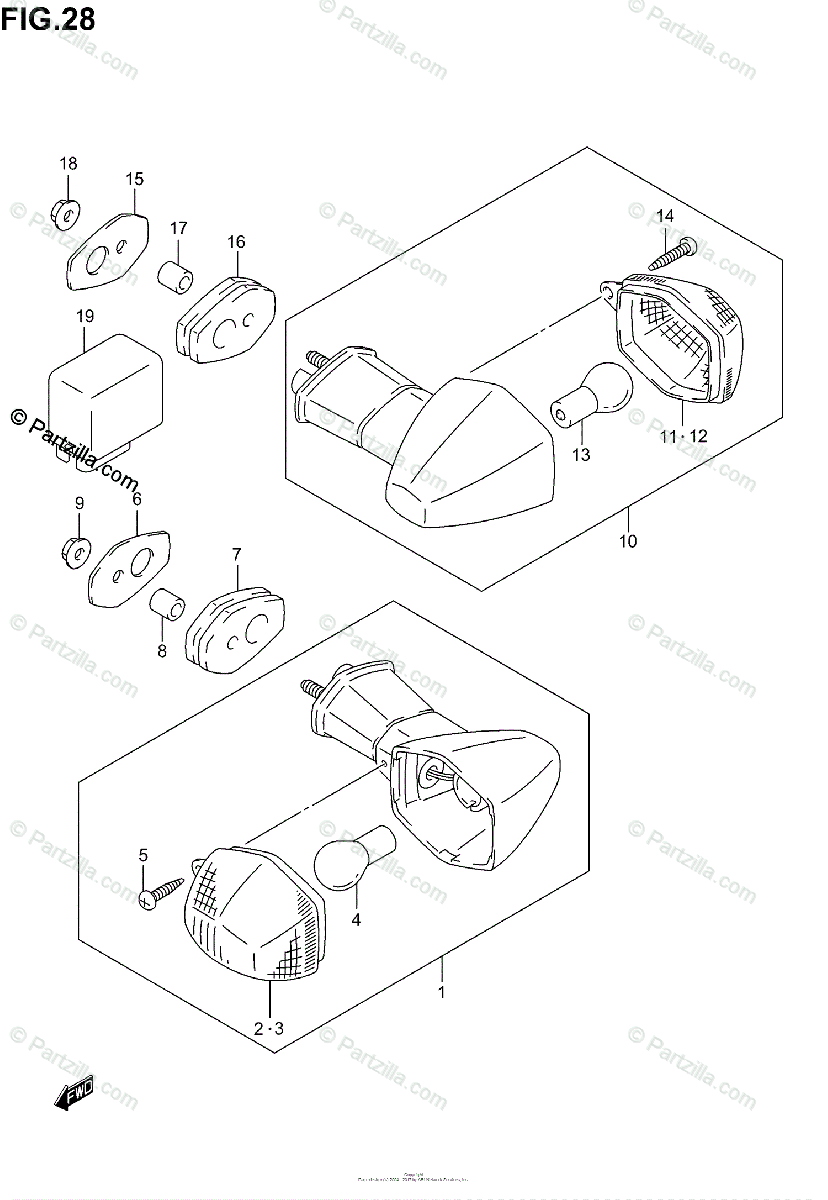 Suzuki Motorcycle 2001 OEM Parts Diagram for TURN SIGNAL