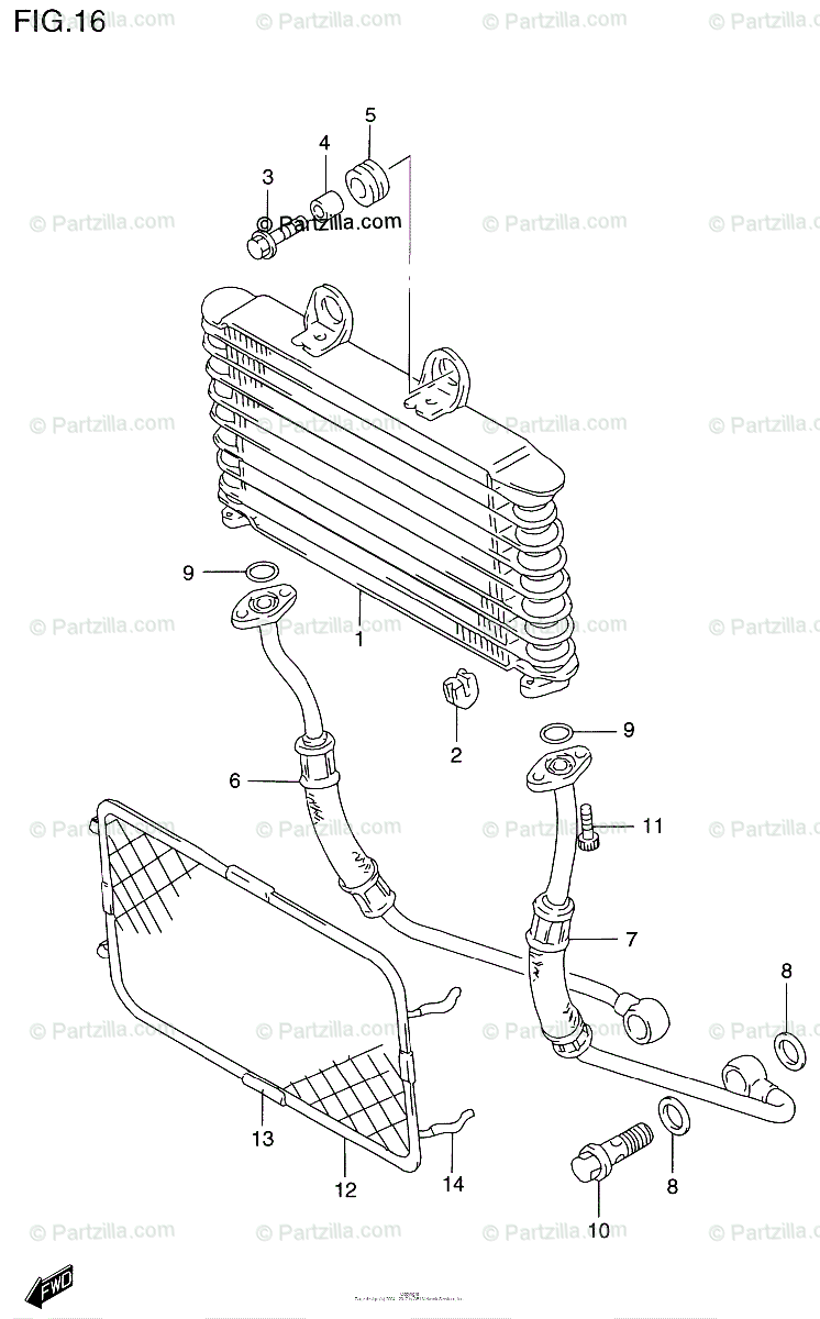 Suzuki Motorcycle 2000 OEM Parts Diagram for Oil Cooler
