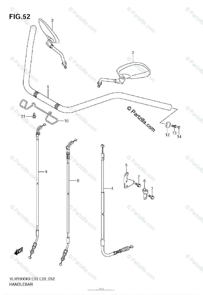 Suzuki Motorcycle 2008 OEM Parts Diagram for Handlebar