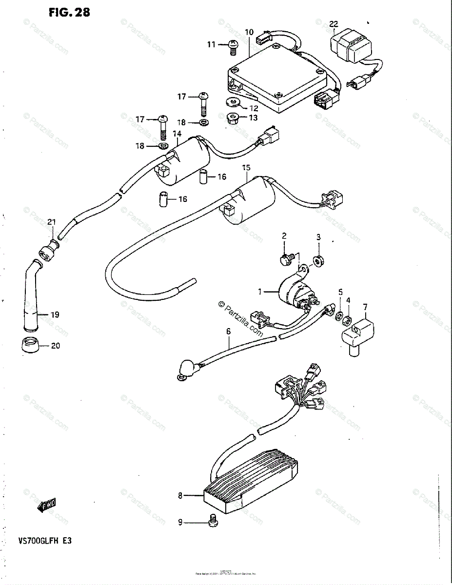 Suzuki Motorcycle 1986 OEM Parts Diagram for Electrical