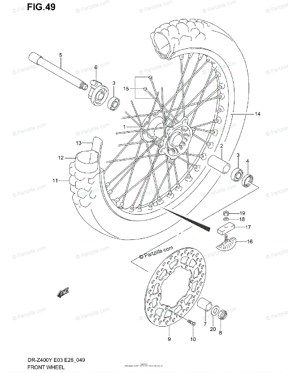 Suzuki Motorcycle 2000 OEM Parts Diagram for Front Wheel