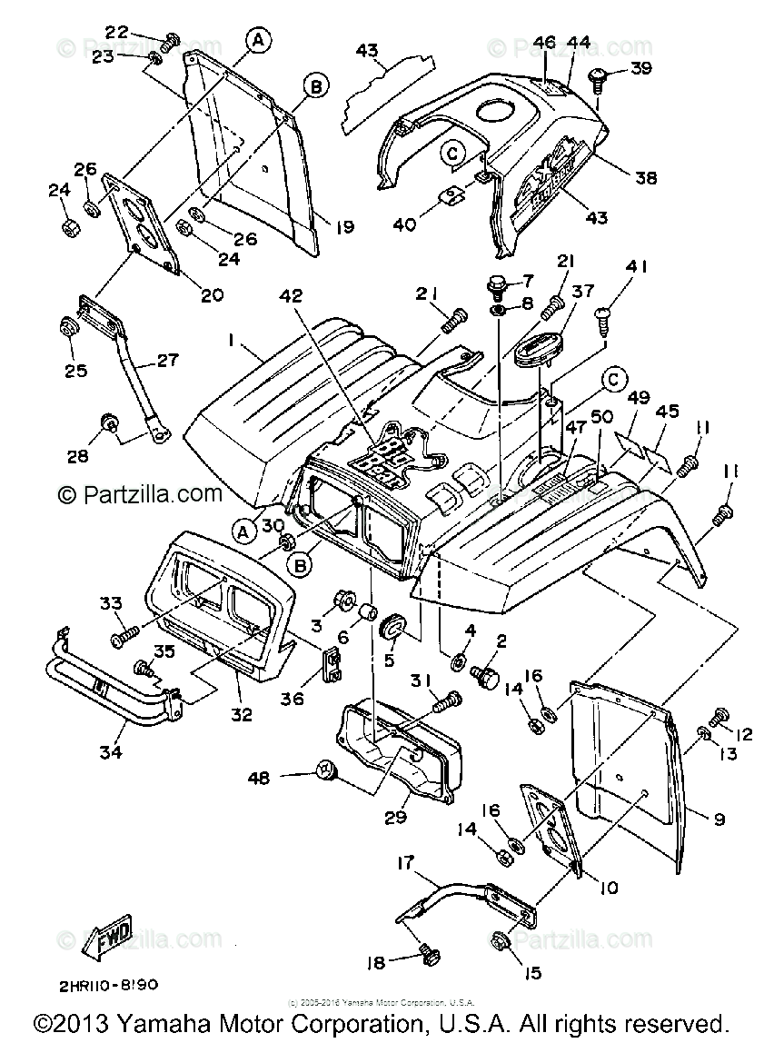 Yamaha ATV 1988 OEM Parts Diagram for Front Fender