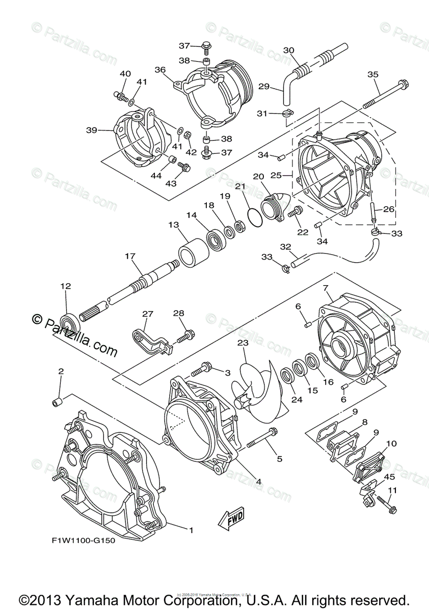Yamaha Waverunner 2009 OEM Parts Diagram for Jet Unit 1