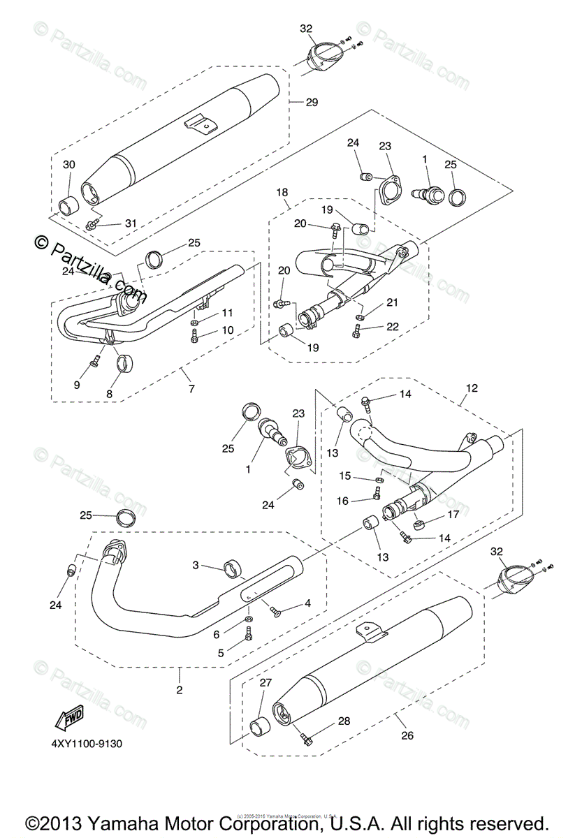 Yamaha Motorcycle 2006 OEM Parts Diagram for Exhaust