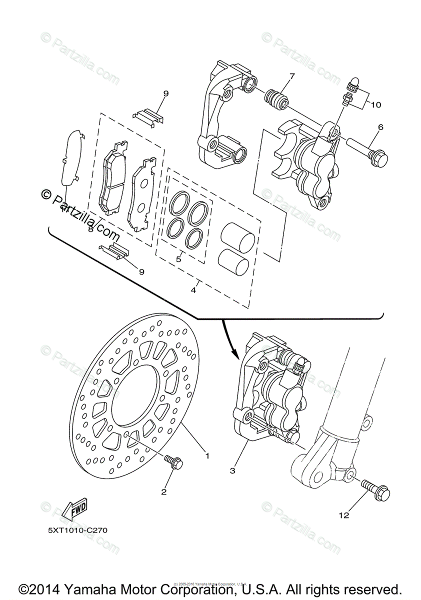 Yamaha Motorcycle 2015 OEM Parts Diagram for Front Brake