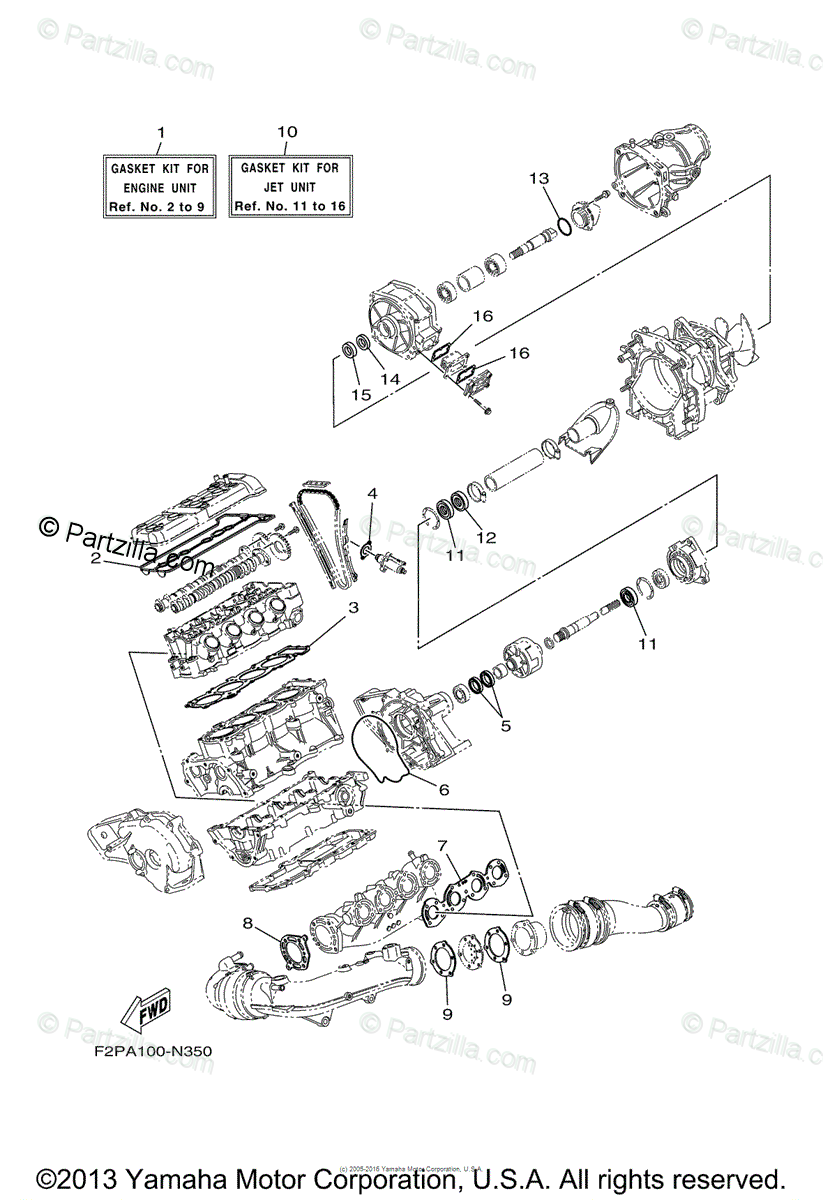Yamaha Waverunner 2014 OEM Parts Diagram for Repair Kit 1