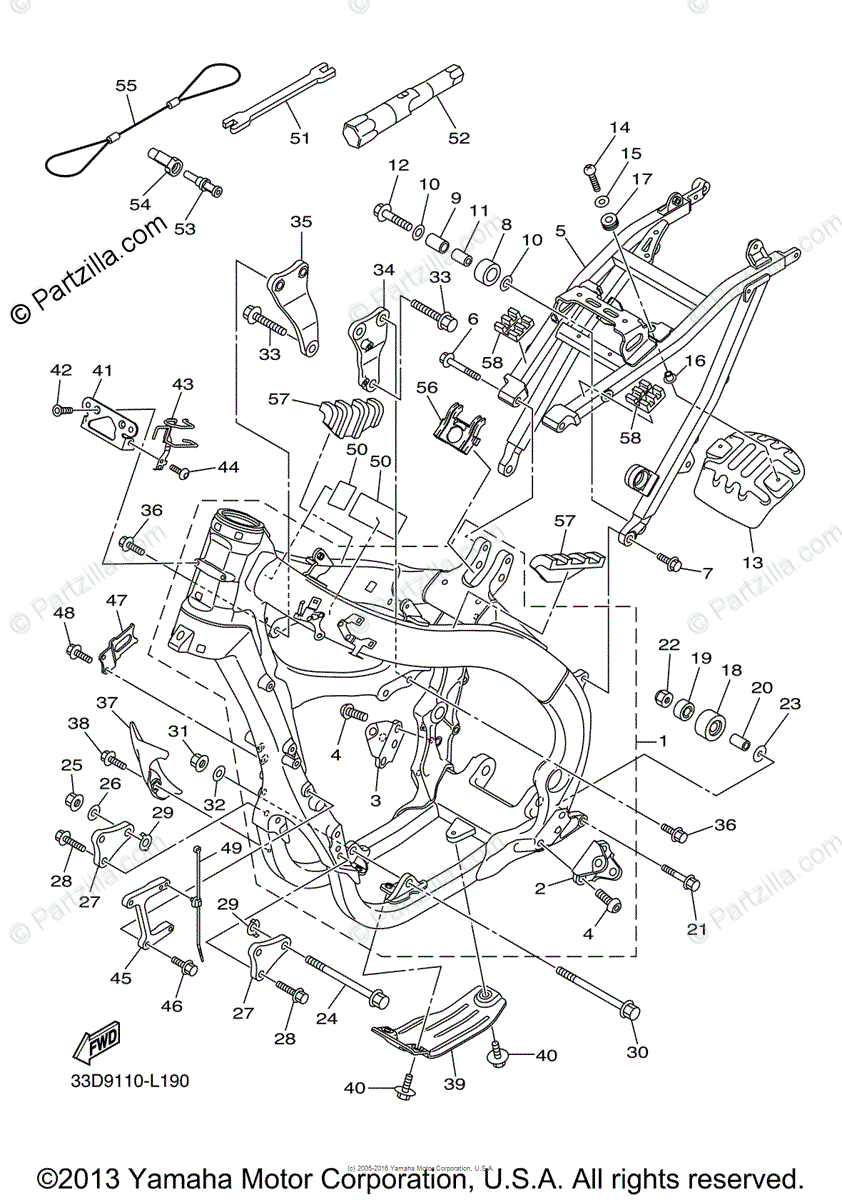 Yamaha Motorcycle 2013 OEM Parts Diagram for Frame