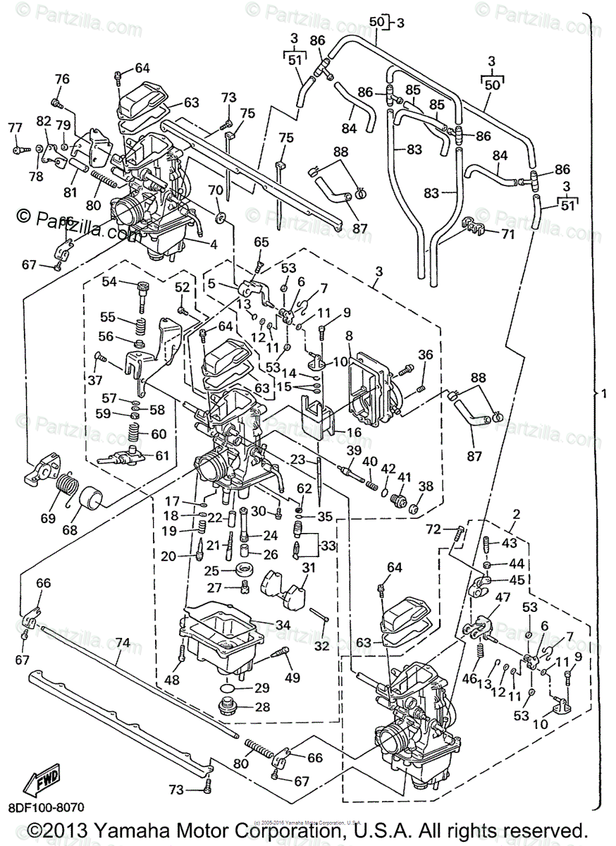 Yamaha Snowmobile 1999 OEM Parts Diagram for CARBURETOR