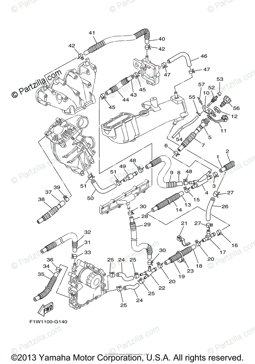 Yamaha Waverunner 2008 OEM Parts Diagram for Exhaust (2