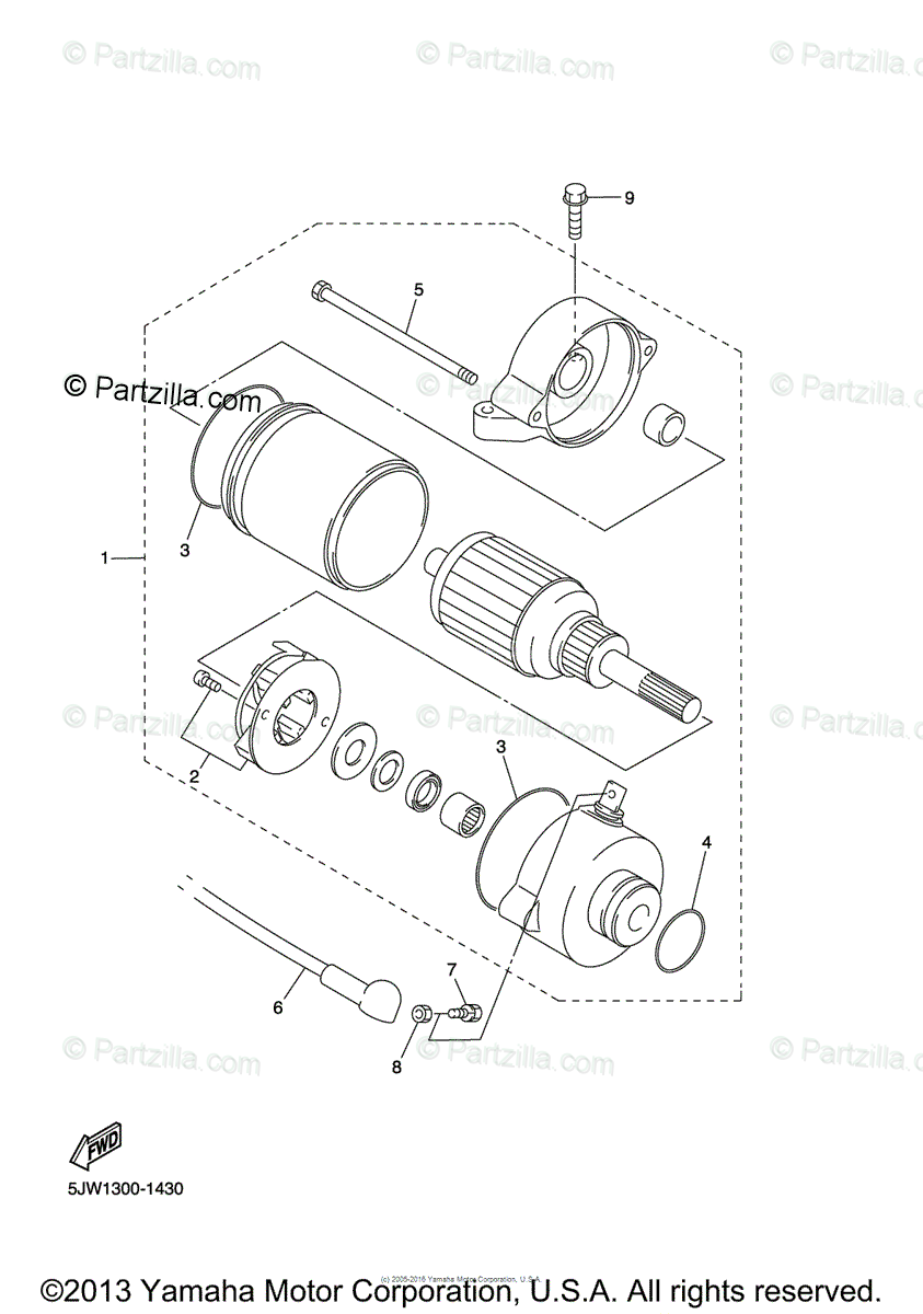 Yamaha Motorcycle 2004 OEM Parts Diagram for STARTING
