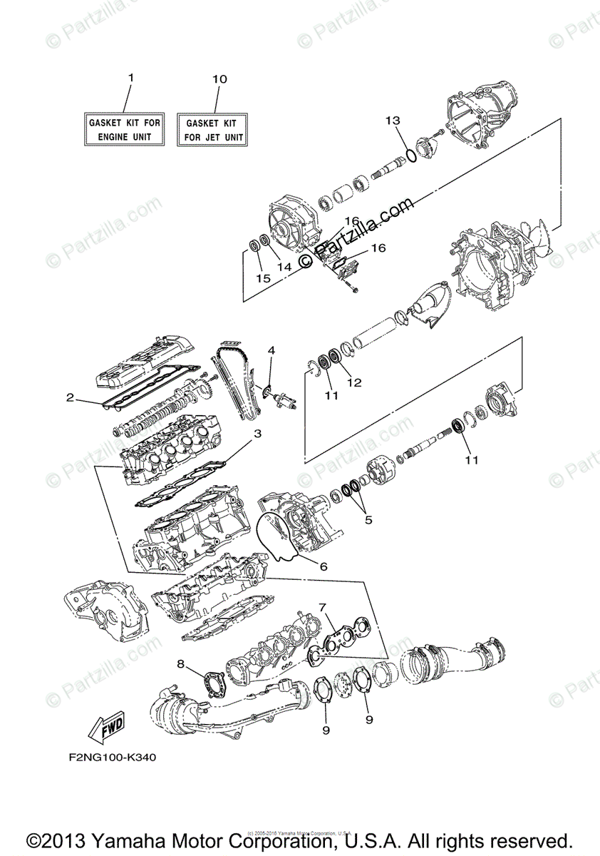 Yamaha Waverunner 2013 OEM Parts Diagram for Repair Kit 1