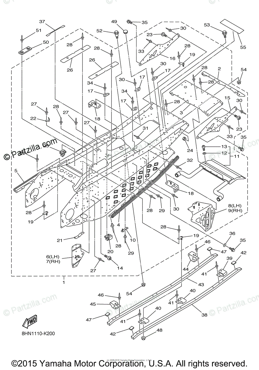 Yamaha Snowmobile 2011 OEM Parts Diagram for Frame 2