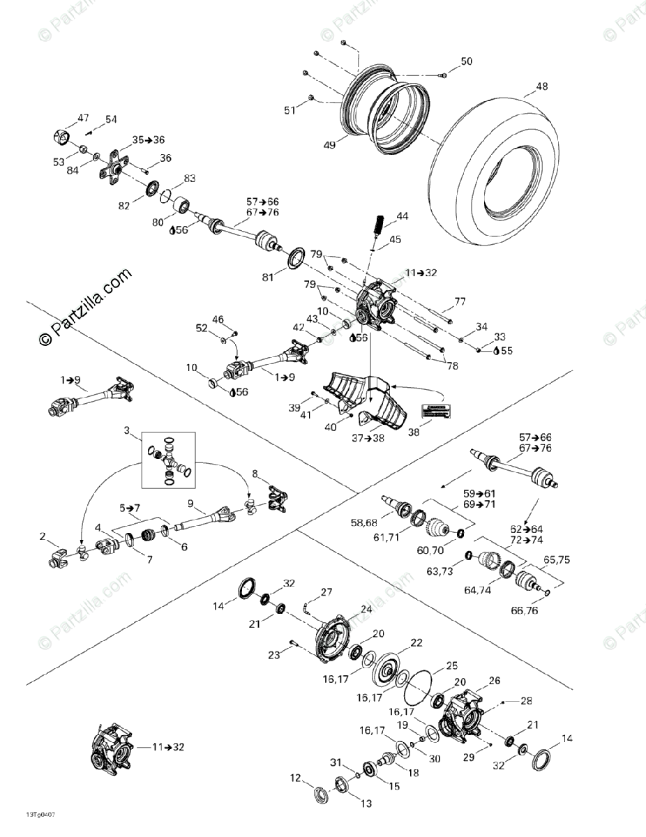 Can-Am ATV 2004 OEM Parts Diagram for Drive System, Rear