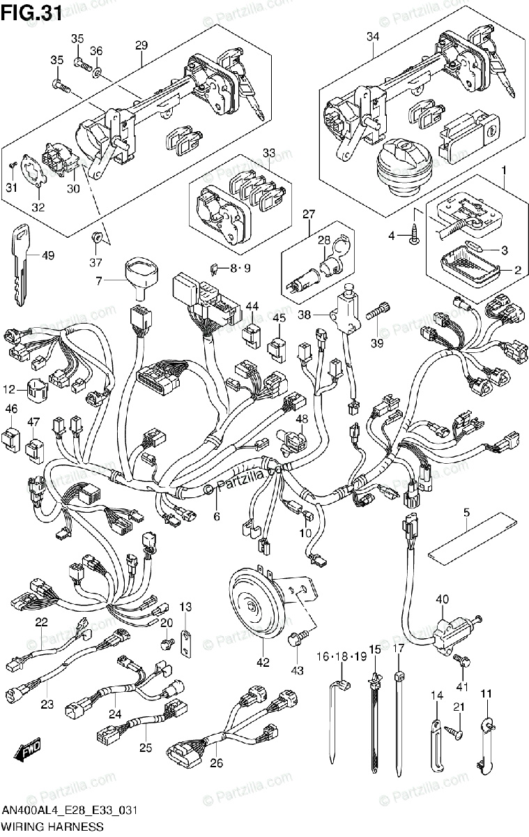 Suzuki Scooters 2014 OEM Parts Diagram for WIRING HARNESS