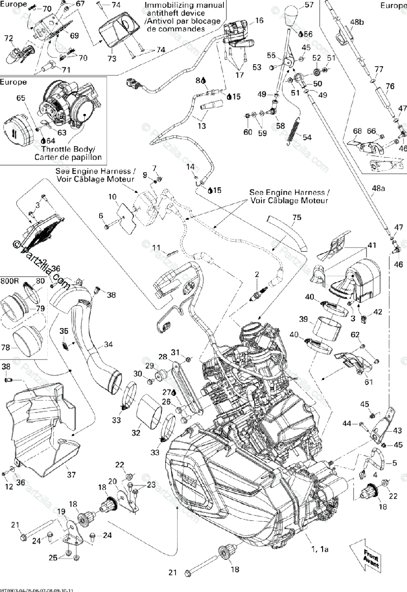 Can-Am ATV 2009 OEM Parts Diagram for Engine And Engine
