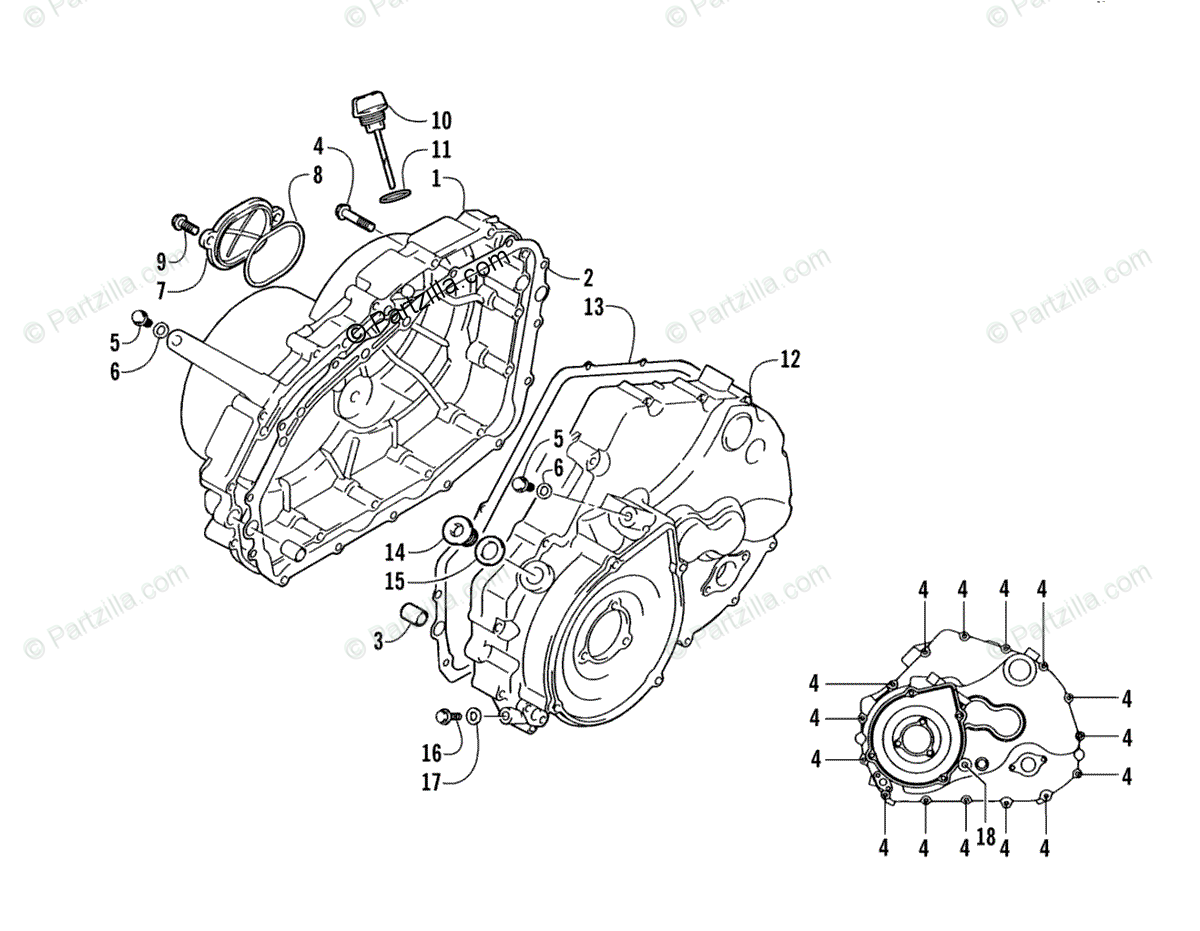 Arctic Cat ATV 2006 OEM Parts Diagram for Crankcase/Cover