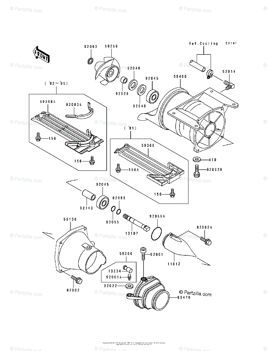 Kawasaki Jet Ski 1992 OEM Parts Diagram for Jet Pump