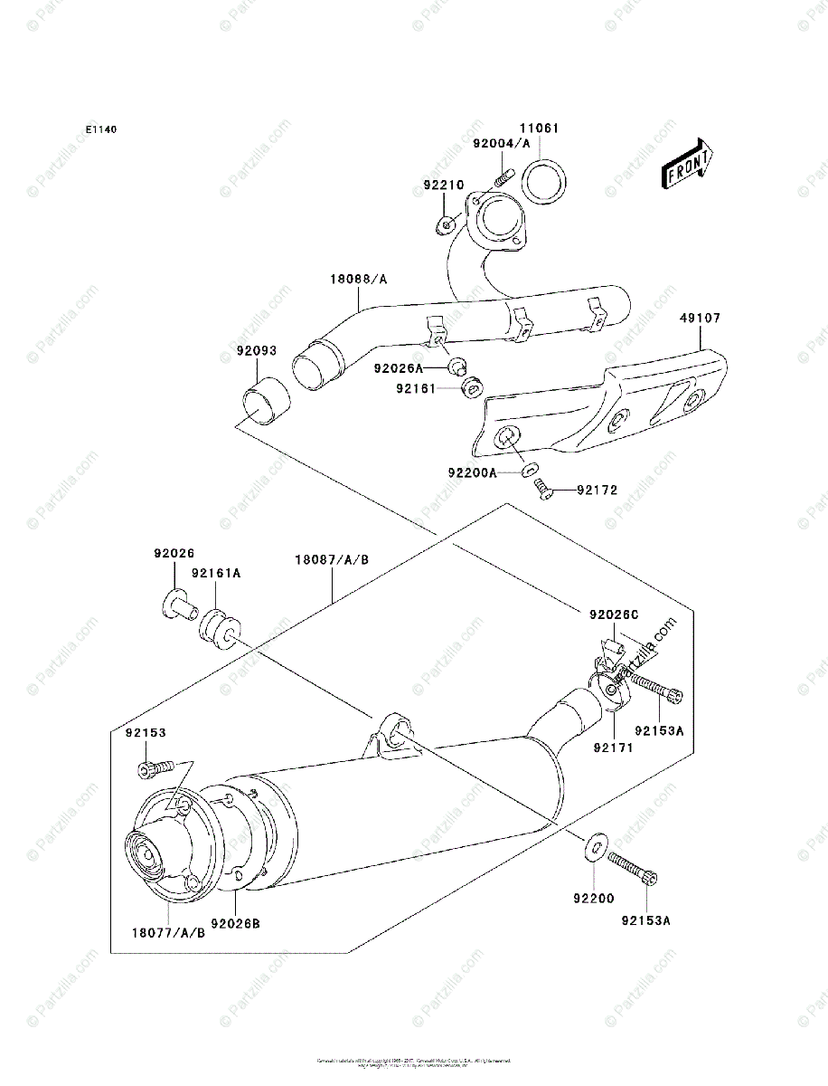 Kawasaki ATV 2005 OEM Parts Diagram for Muffler(s