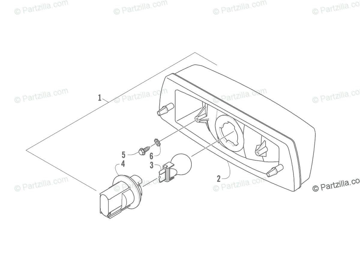 Arctic Cat ATV 2008 OEM Parts Diagram for Taillight