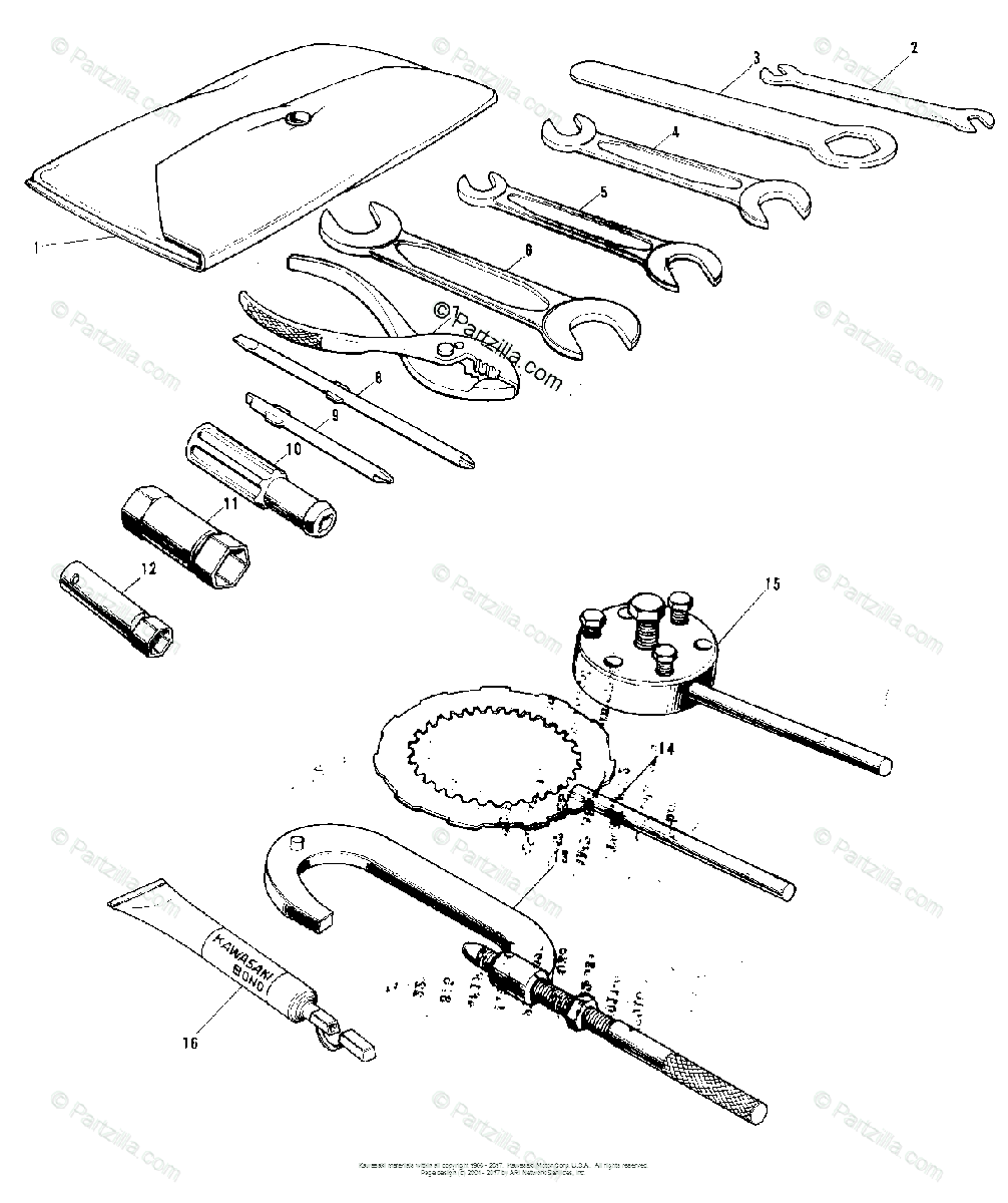 Kawasaki Motorcycle 1972 OEM Parts Diagram for OWNER TOOLS