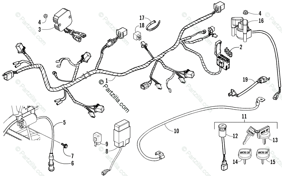 Arctic Cat ATV 2008 OEM Parts Diagram for Electrical And