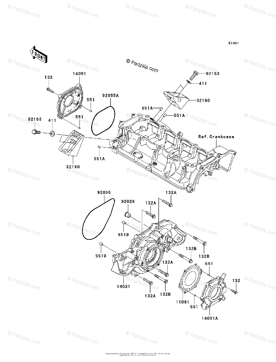 Kawasaki Jet Ski 2011 OEM Parts Diagram for Engine Cover(s