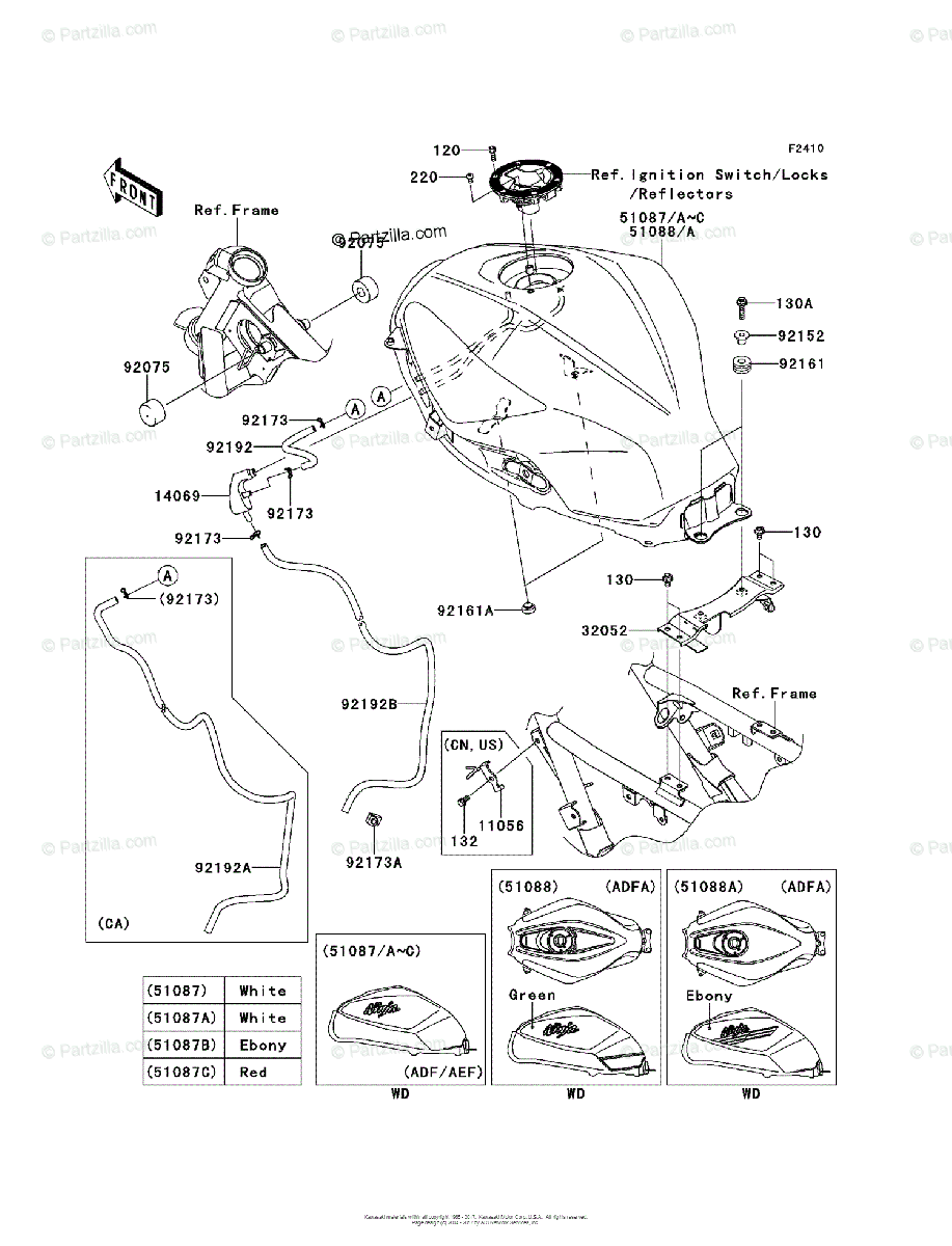 Kawasaki Motorcycle 2014 OEM Parts Diagram for Fuel Tank