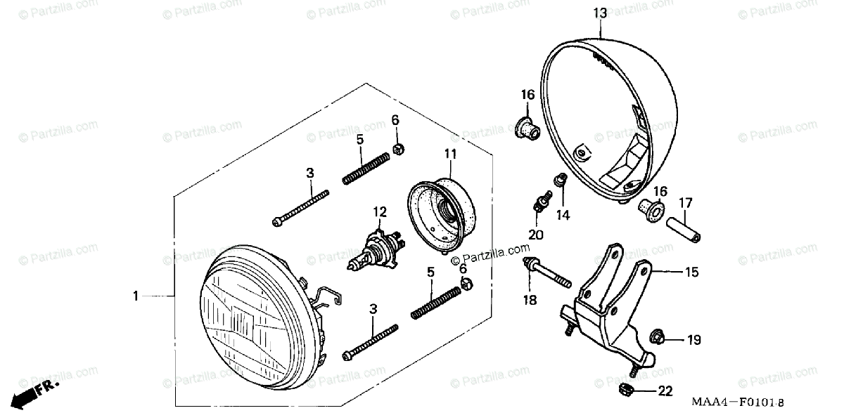 Honda Motorcycle 2002 OEM Parts Diagram for Headlight 2