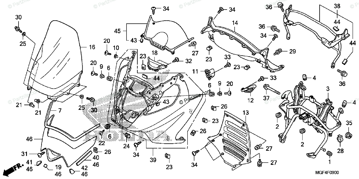 Honda Scooter 2011 OEM Parts Diagram for Front Cover