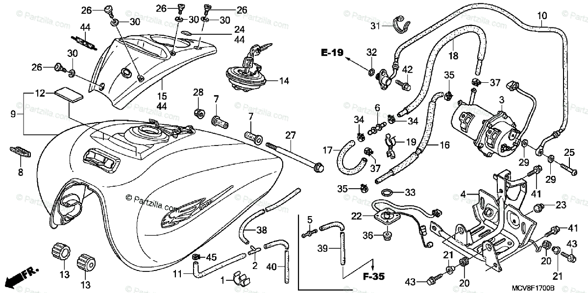 Honda Motorcycle 2006 OEM Parts Diagram for Fuel Tank