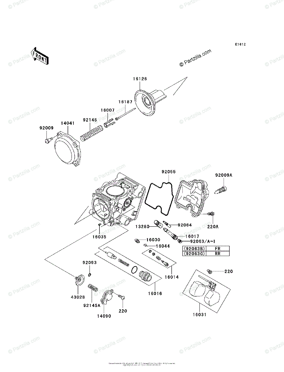 Kawasaki ATV 2006 OEM Parts Diagram for Carburetor, Parts