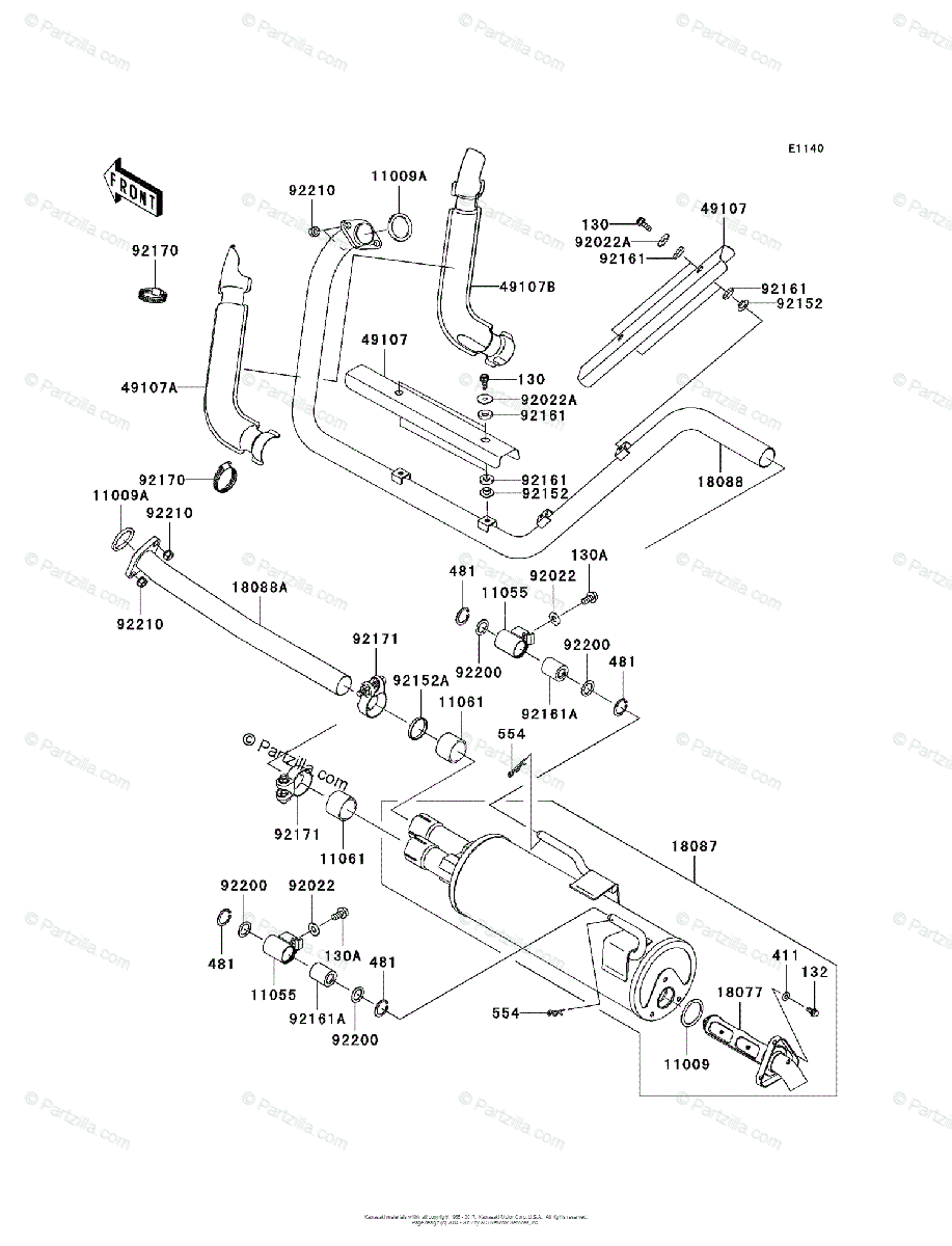 Kawasaki Side by Side 2008 OEM Parts Diagram for Muffler(s