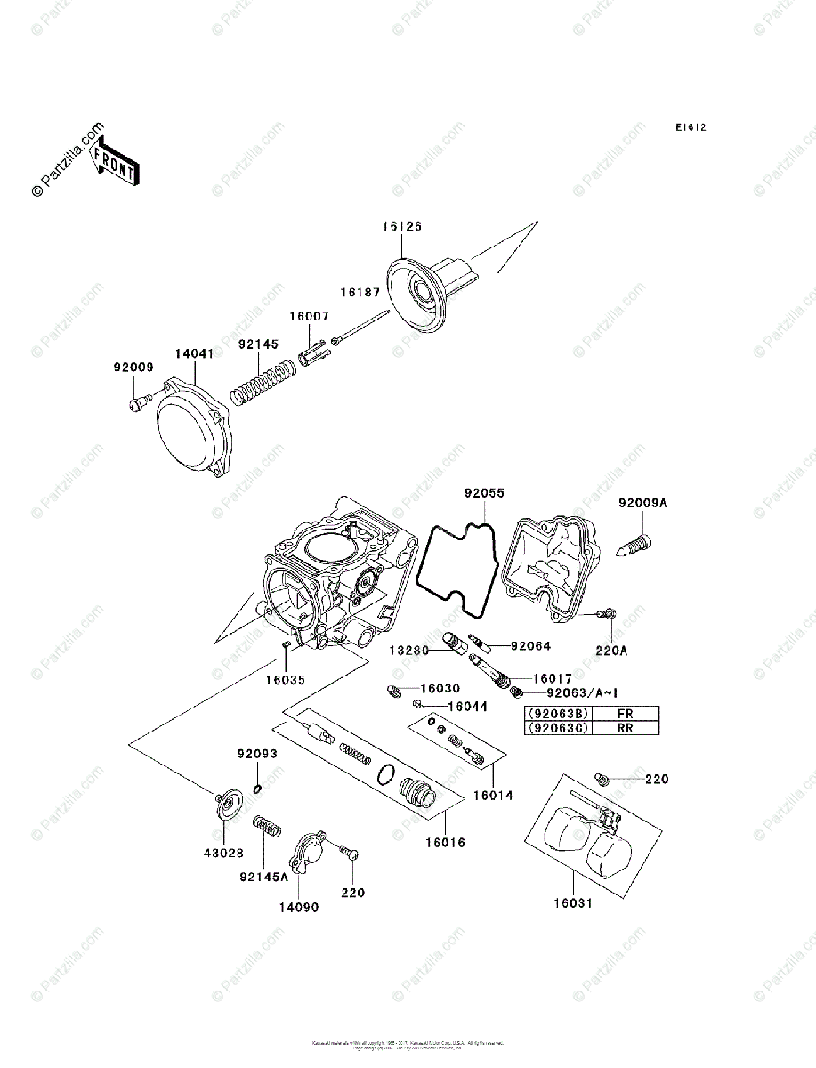 Kawasaki ATV 2004 OEM Parts Diagram for Carburetor, Parts
