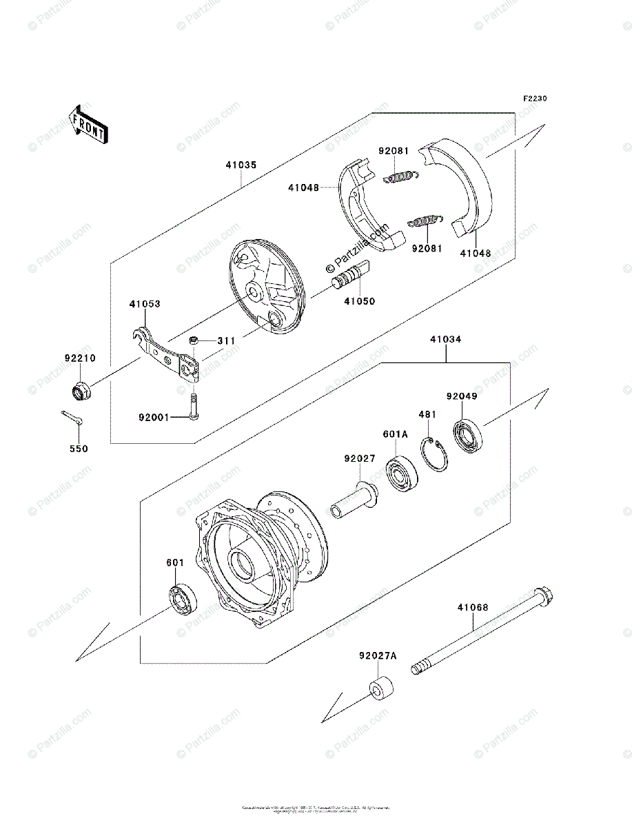 Kawasaki Motorcycle 2010 OEM Parts Diagram for Front Hub