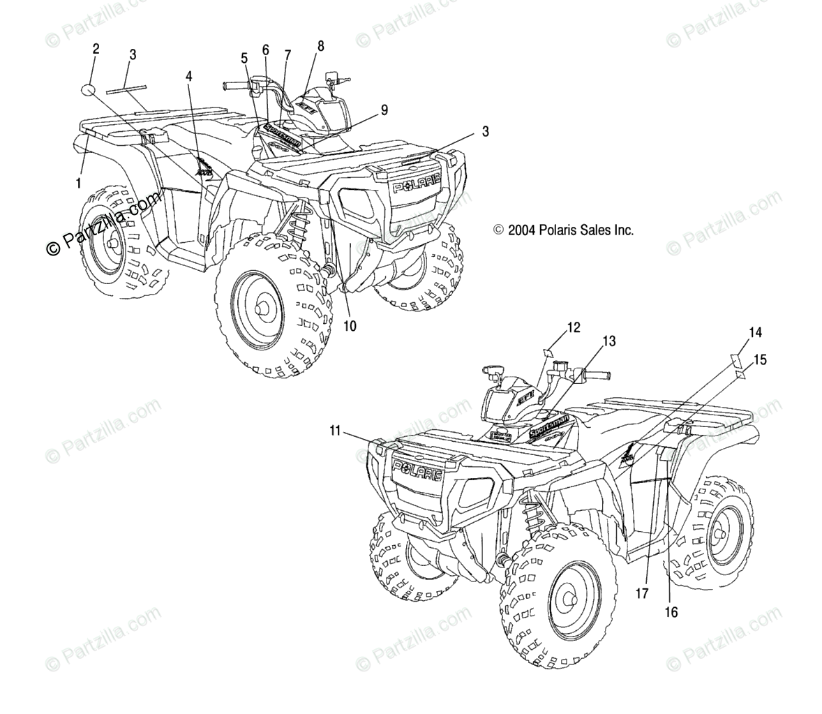 Polaris ATV 2005 OEM Parts Diagram for Decals A05mh76au/Aw