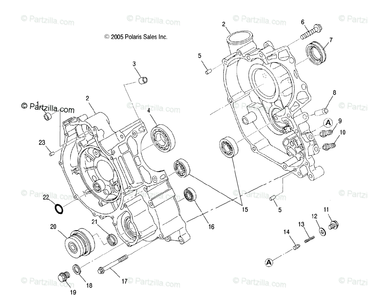 Polaris Atv Oem Parts Diagram For Engine Crankcase