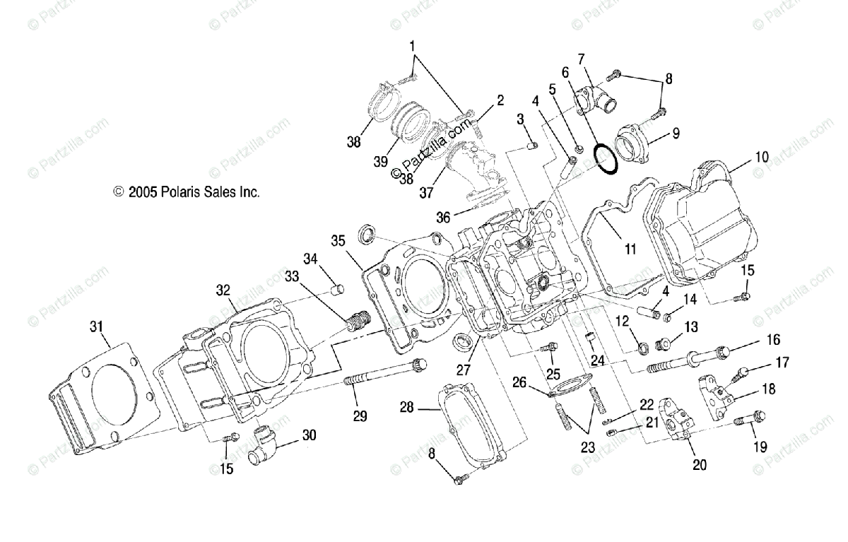 Polaris Side by Side 2007 OEM Parts Diagram for Engine