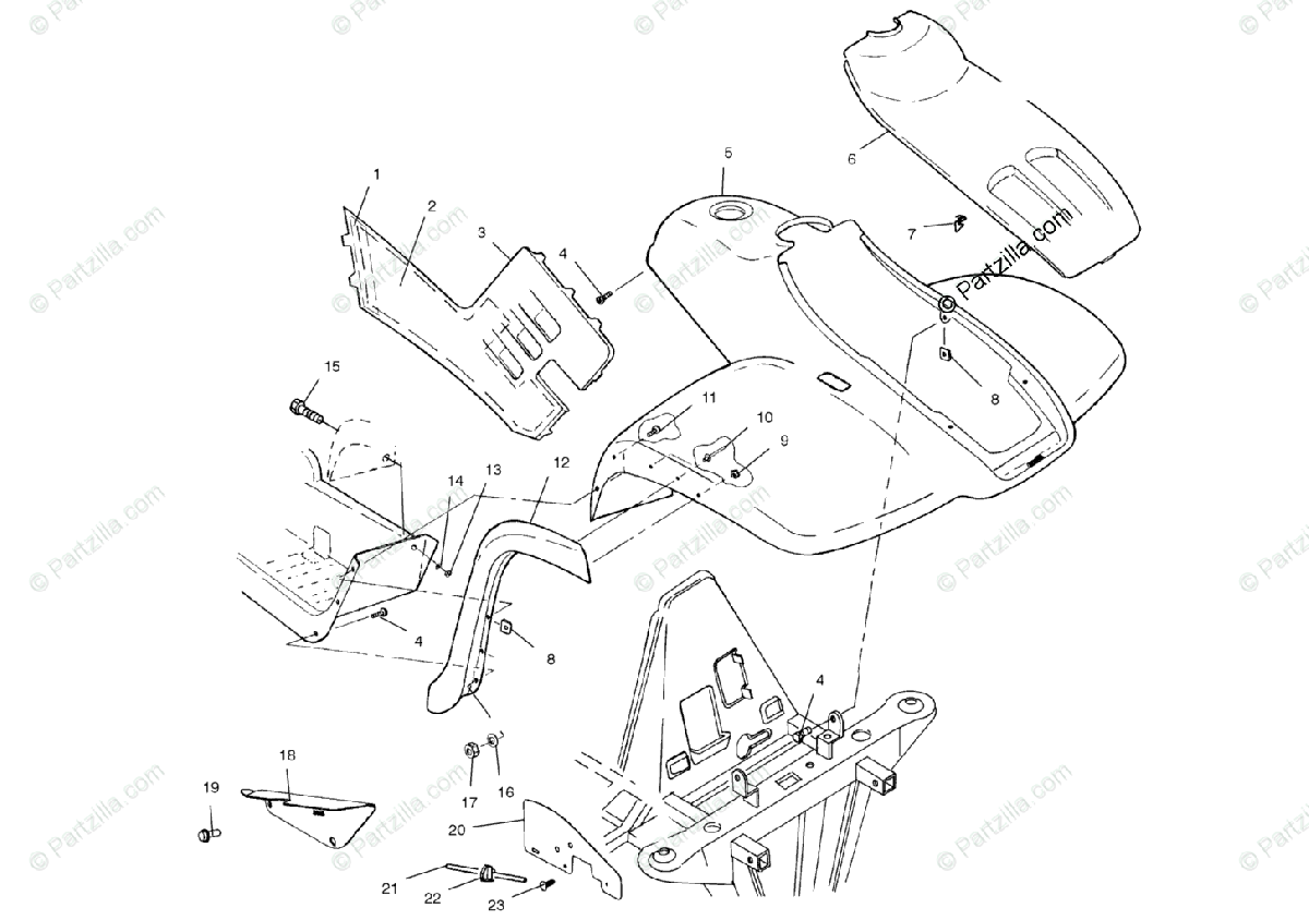 Polaris ATV 2000 OEM Parts Diagram for Front Cab