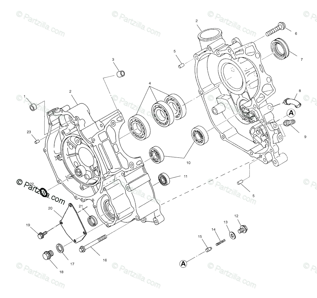 Polaris ATV 1999 OEM Parts Diagram for Crankcase A99ch33ia