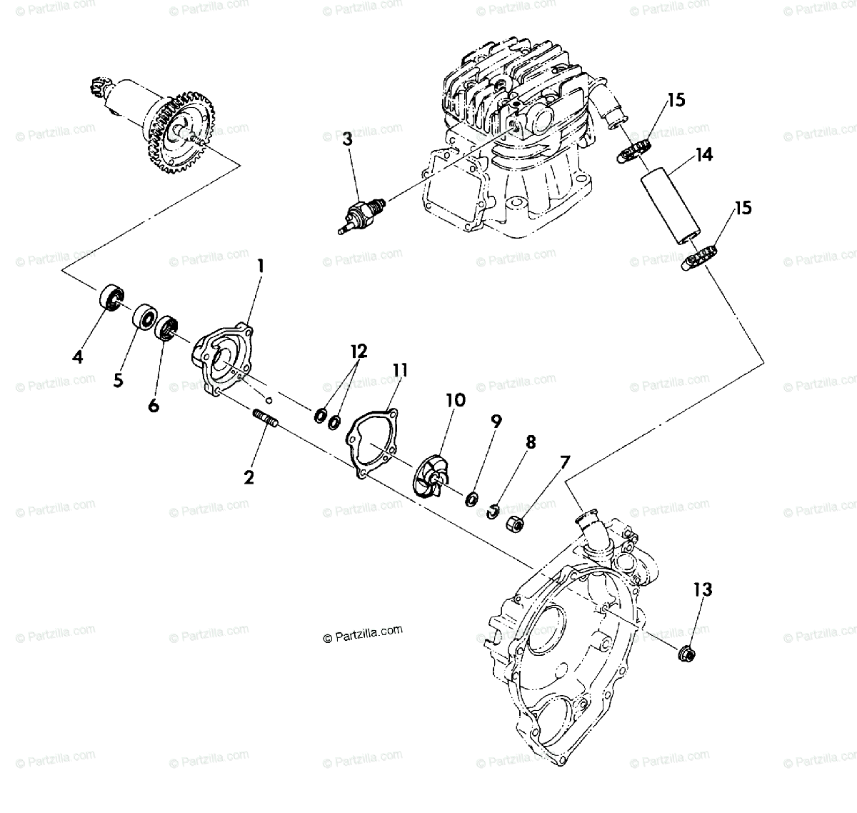 Polaris ATV 1990 OEM Parts Diagram for Water Pump Assembly