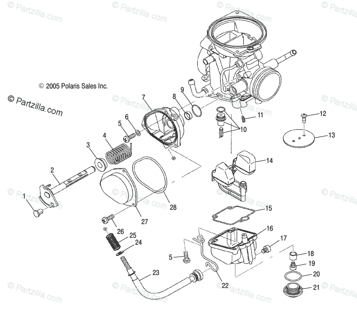 Polaris ATV 2013 OEM Parts Diagram for Engine, Carburetor